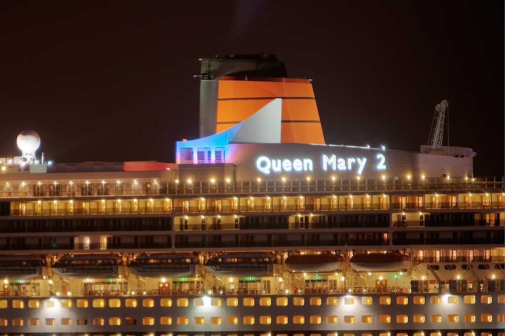 fiber optic lighting illuminating the name sign on rms queen mary 2