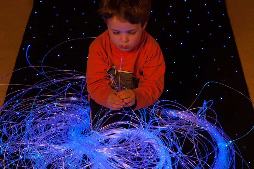 sparkle fiber optic harness for sensory use